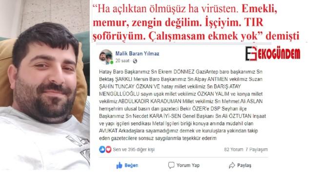 TIR şoförü Malik Baran Yılmaz, sosyal medya hesabından teşekkür etti…